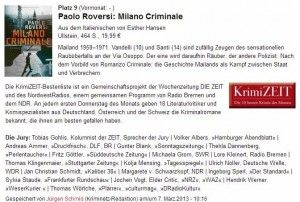 Nella top ten dei romanzi crime (krimi) in Germania #milanocriminale