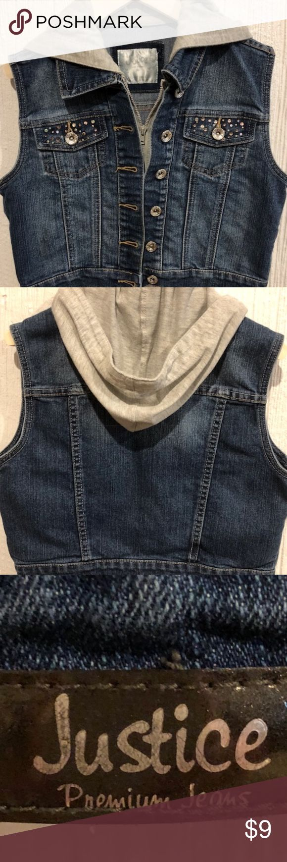 Justice Girl's Hooded Denim Vest Size 14 Nice hooded, denim jean vest from Justice! This vest is lightly worn and distressed, and has little sparkly rhinestones on the front pockets. There is a couple of rhinestones that are missing, but you can't really tell. The hood is gray. Good condition. Girls size 14. Justice Jackets & Coats Jean Jackets