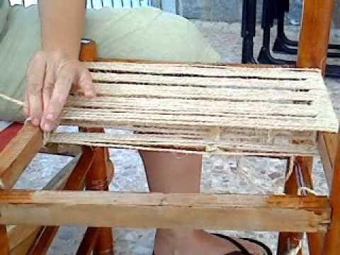 asiento de silla con trenzado de cuerda