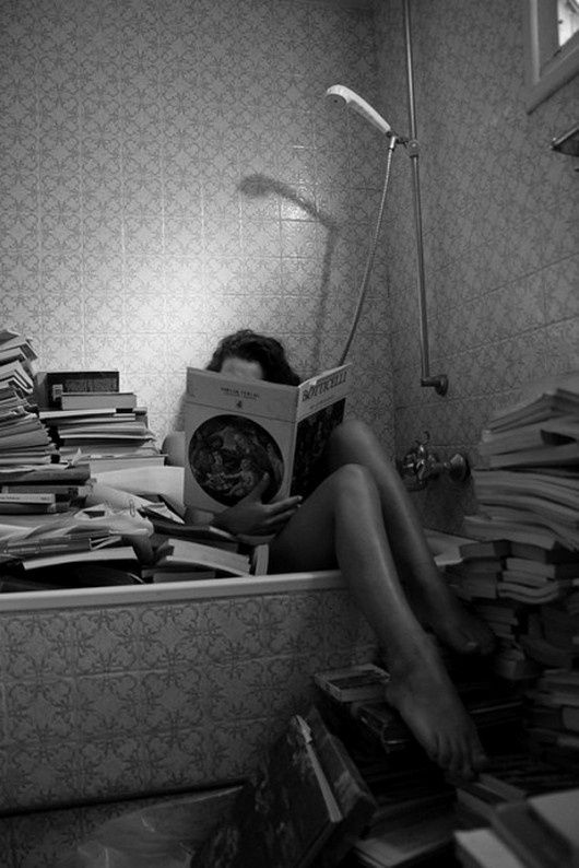 Reading in the bath was the only way she knew to avoid having to stop reading to take toilet breaks.