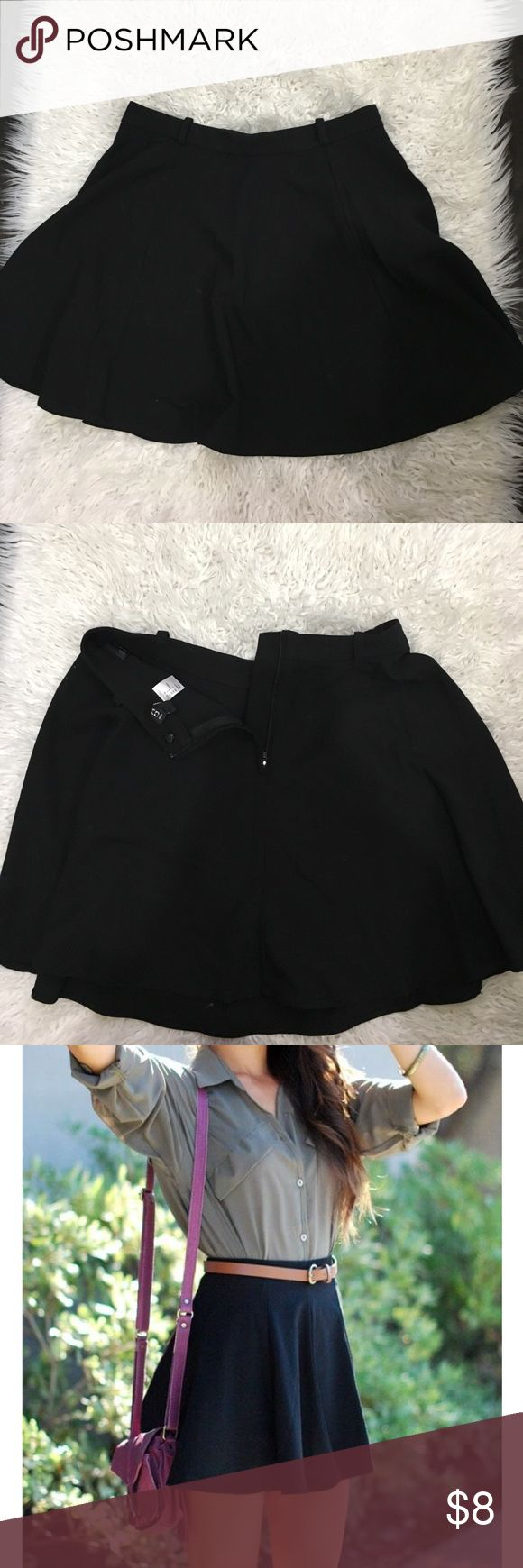 Black skater skirt with belt loops Basic black skater skirt with belt looks perfect for summer! Hardly worn- no damage ! H&M Skirts Circle & Skater