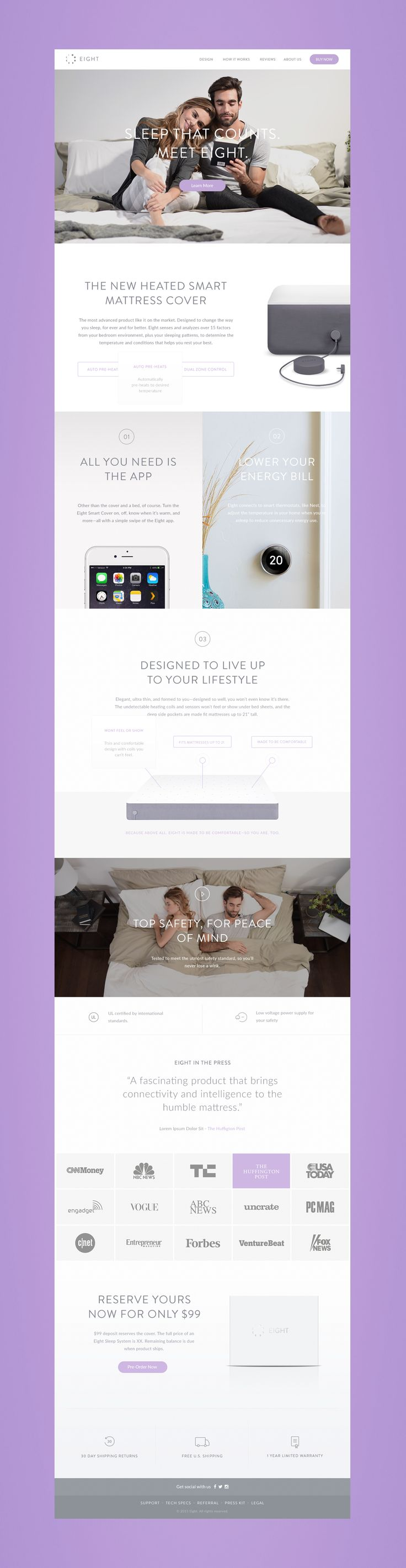 Created as a way to solve the founder's sleeping problems, Eight is a smart mattress cover focused on leveraging data from people's sleep patterns and disruptions in order to modify the environment accomplishing the perfect night sleep cycle. The cover em…