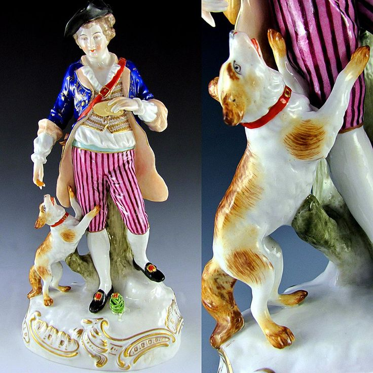 Large antique German Sitzendorf porcelain figurine, depicting a gentleman with his adorable dog at his side! With his hat on and satchel bag over his shoulder, he is apparently traveling, and sharing a bit of bread with his dog for the journey ahead. From The Antique Boutique on Ruby Lane