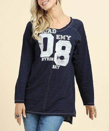 This Navy Split '08' Rugby Tee - Plus Too is perfect! #zulilyfinds