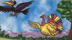 EL CUERVO Y EL PAVO  Un pavo muy vanidoso desafió  una vez a un cuervo a una carrera de vuelo. Pero todo el camino se dedicó a molestar y a ...