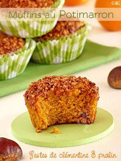 Muffins au potimarron, zestes de clémentines & pralin