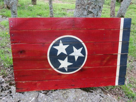 Tennessee State Flag, Hand Painted on Reclaimed Wood – Wall Hanging