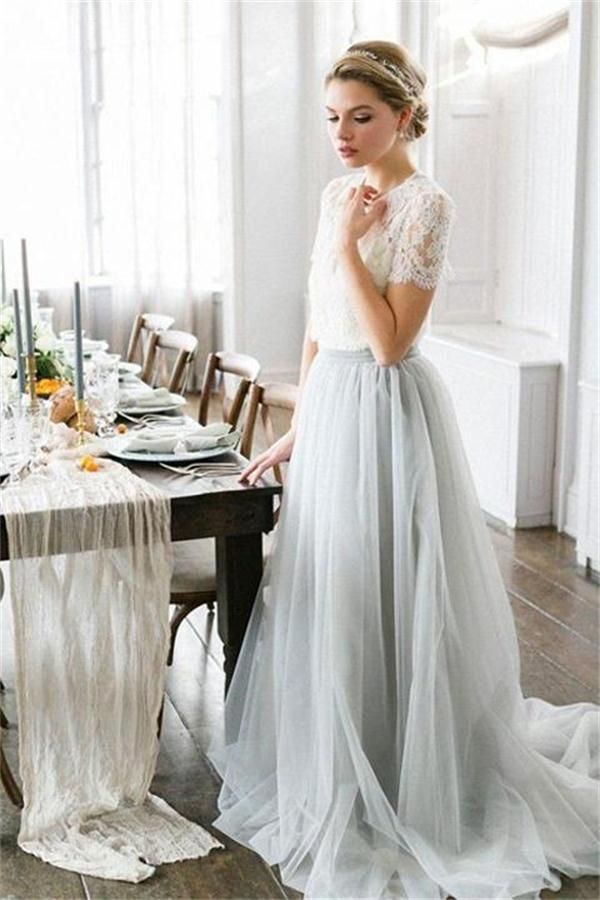 4e44f8177789 Elegant Ivory And Gray Long Lace Tulle Simple Flowy Prom Dresses #fancy # dress #fancydress