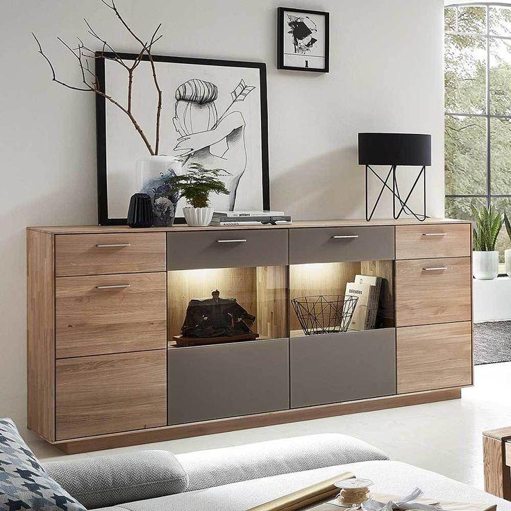 Great Sideboard aus Wildeiche Massivholz Grau Glas Jetzt bestellen unter https moebel ladendirekt de wohnzimmer schraenke sideboards uid udce e a