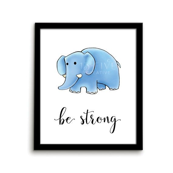 Elephant Print Animal Nursery Art Print Be by ThirteenFiveCreative