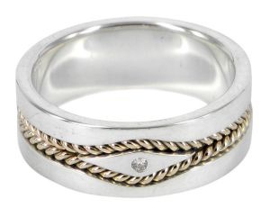 Diamond Twists wedding ring in sterling silver, diamond and 9ct yellow gold