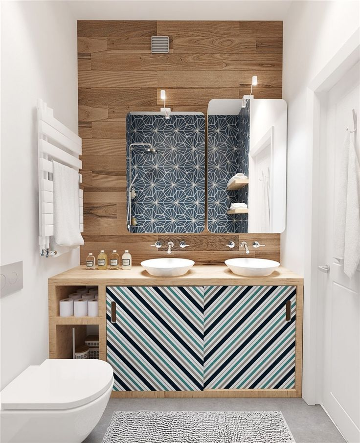 Chevron and wood in the bathroom