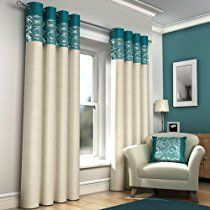 """RING TOP FULLY LINED PAIR EYELET READY MADE CURTAINS RED BLACK SILVER CREAM BLUE (Teal and Cream, 66"""" x 72"""" (168 x 183cm))"""