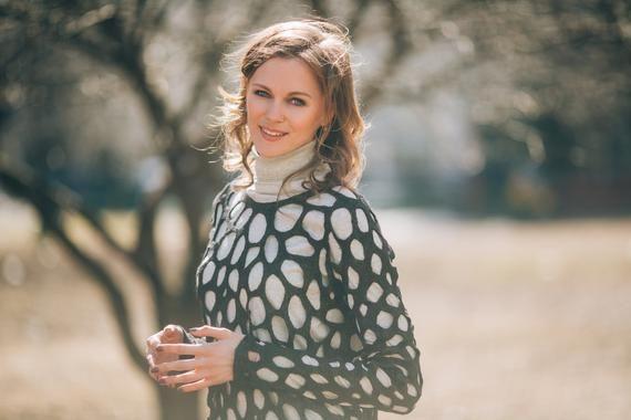 women's wool sweater – brown felted sweater – lace summer sweater – Winter Fashion Sweater