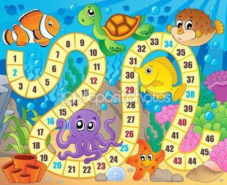 Gra planszowa obrazu z podwodne motywu 1 — Ilustracja stockowa #67859113