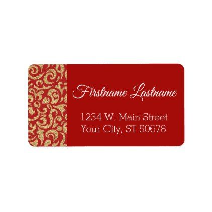 Faux Gold Glitter Dark Red Damask Floral Pattern Label - winter gifts style special unique gift ideas