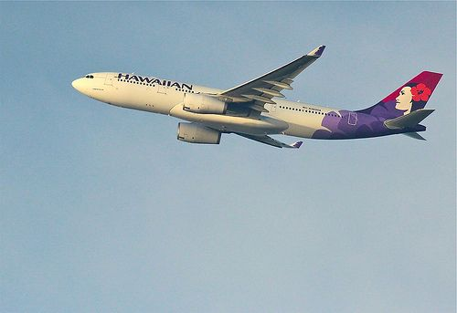 Hawaiian Airlines Airbus A-330-200 on take-off from Honolulu International Airport.
