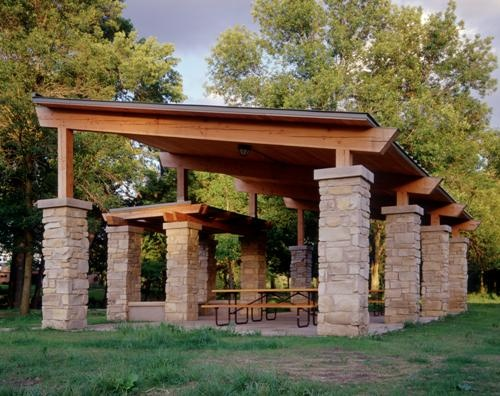 Timber Frame Pavilion With Stone Base A Little Too Modern