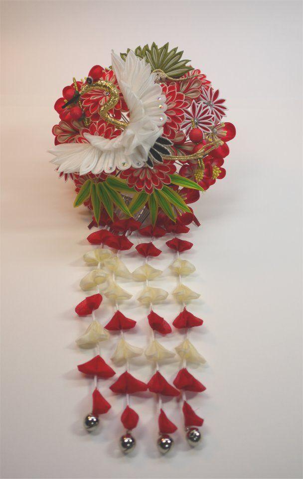 Japanese crane kanzashi