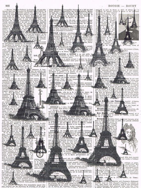 Paris Eiffel Tower French Antique book page