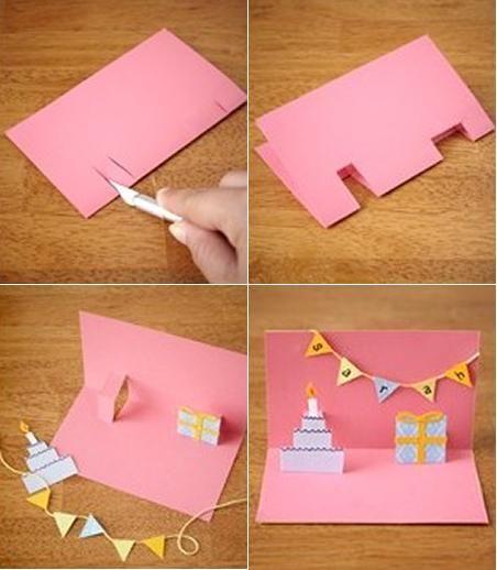 Как делать открытку своими руками на день рождения легкая