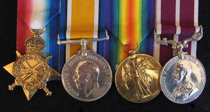 1914-1919 Group of Four Meritorious Service Medal & Trio To: 6-3239 Sjt W.J. Annand 1/Canterbury R.  (W.O.1 on Trio). 8th Reinf.