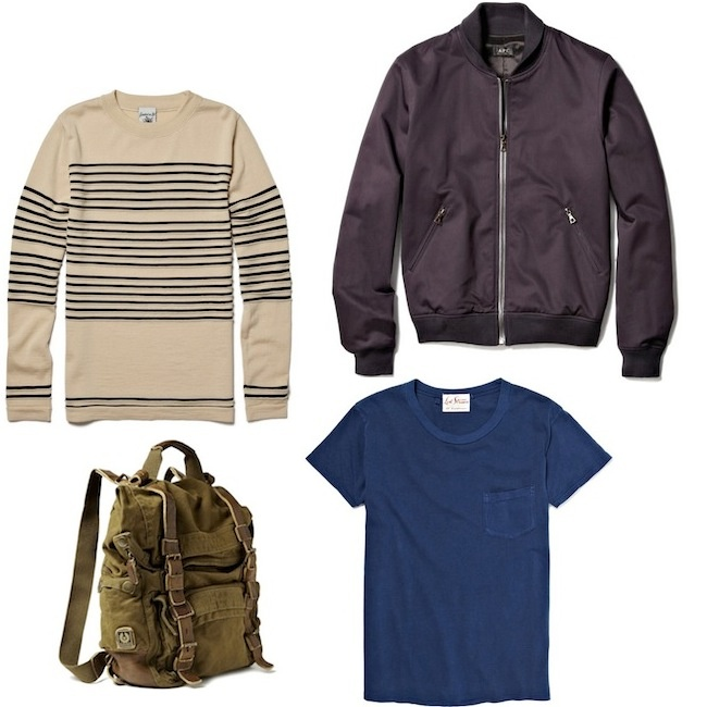 A.P.C. Bomber Jacket | S.N.S. Herning Crew Neck Wool Striped Sweater | Levi's Vintage Clothing Blue T-Shirt with Chest Pocket | Belstaff Double Sized Backpack #fashion #apparel