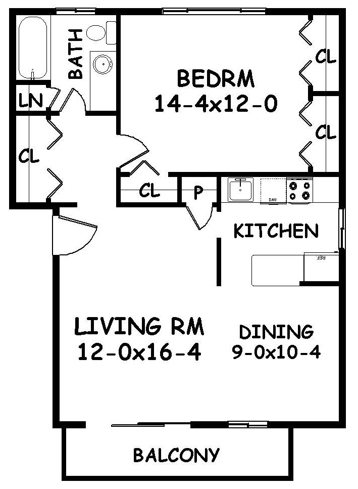 26 best 400 sq ft floorplan images on pinterest - One bedroom apartment layout ...