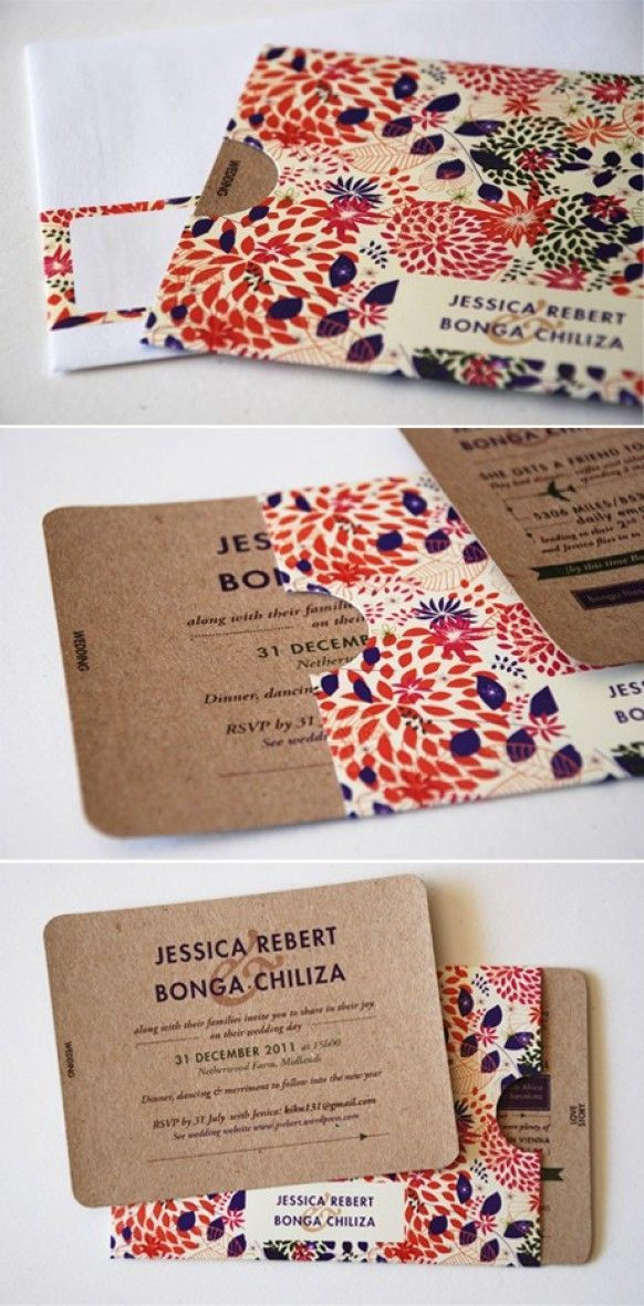 Wedding Invitation - I like how there are   pullouts. I also like the print on the front, but would want different colors.   Bright, cute what a great idea! Use prints that match up with your wedding   theme, beach wedding, sea shells. Use a map of the island as an example to make   your invites!   destinationweddings.travel