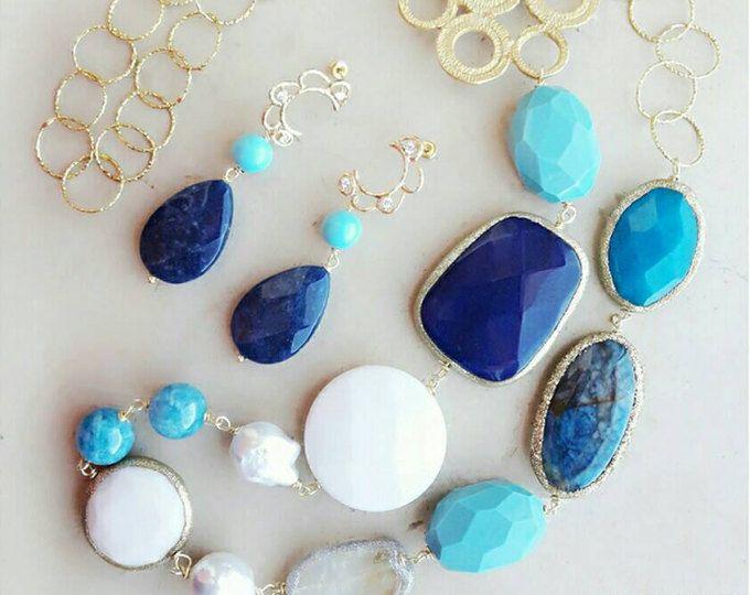 Set di gioielli blu per moglie, turchese gioielli, monili d'estate, monili di boho per moglie, migliore collana regalo, regalo compleanno mamma