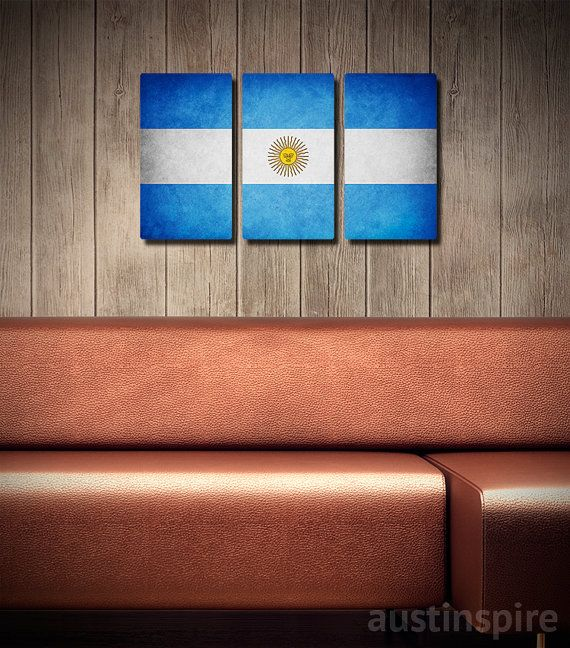 Argentina metal flag triptych #walldecor