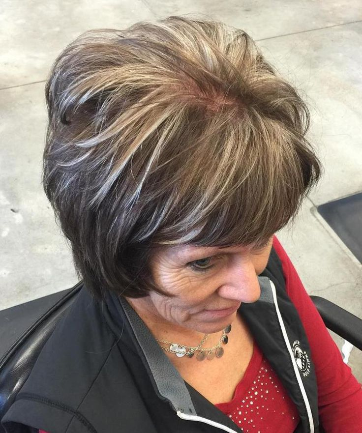 Brown Layered Bob With Ash Blonde Highlights