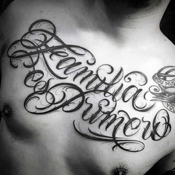 Fantastic Black Inked Family Words Tattoo Male Chest