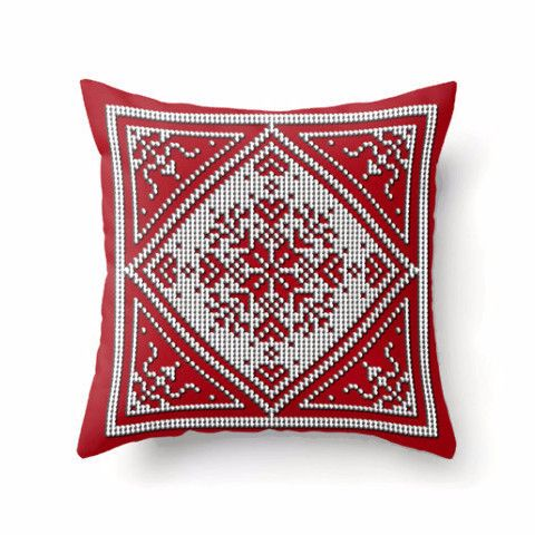 red and white swedish gifts | Throw Pillow - Scandinavian Snowflake Design in white and gray on red