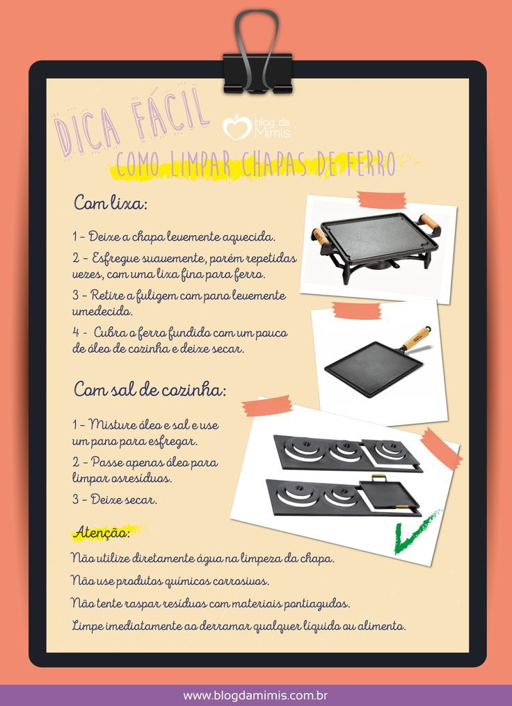 Dica prática: como limpar chapas de ferro fundido - Blog da Mimis #infográfico #blogdamimis #chapas #ferro #casa #limpeza #dica