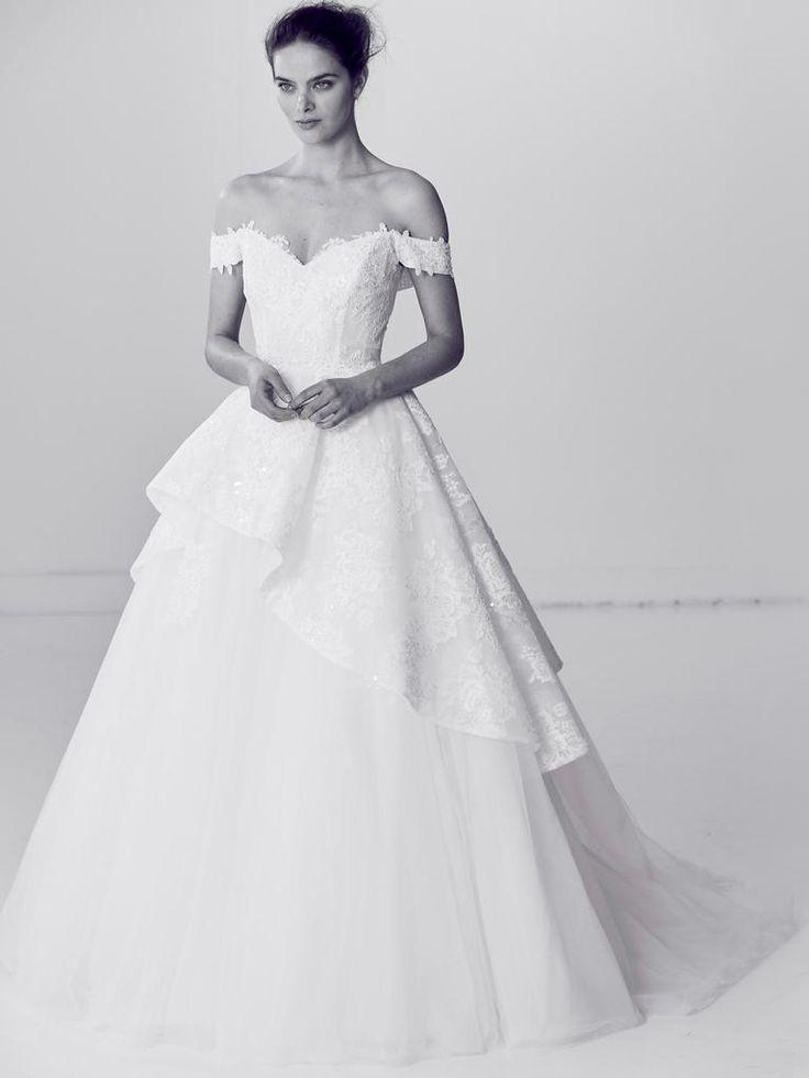 Alyne by Rita Vinieris Spring 2018 off-the-shoulder crystal embellished off-the-shoulder wedding dress with full tulle skirt