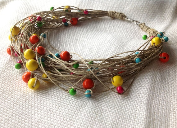 Linen Necklace Wooden Colorful Beads Eco by BeadedCoffeeTree, $31.00