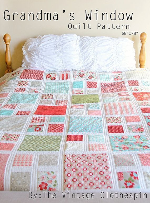 Grandma's Window Quilt Pattern / PDF on Etsy from the Vintage Clothespin. I LOVE the colors of this quilt!