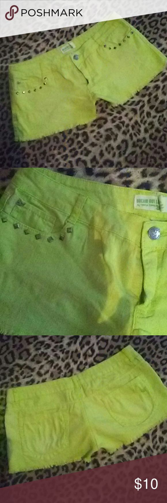 Dream Out Loud lime green denim shorts Size 1 Dream Out Loud lime green denim shorts with studded detail pockets. Size 1 Dream Out Loud Shorts Jean Shorts