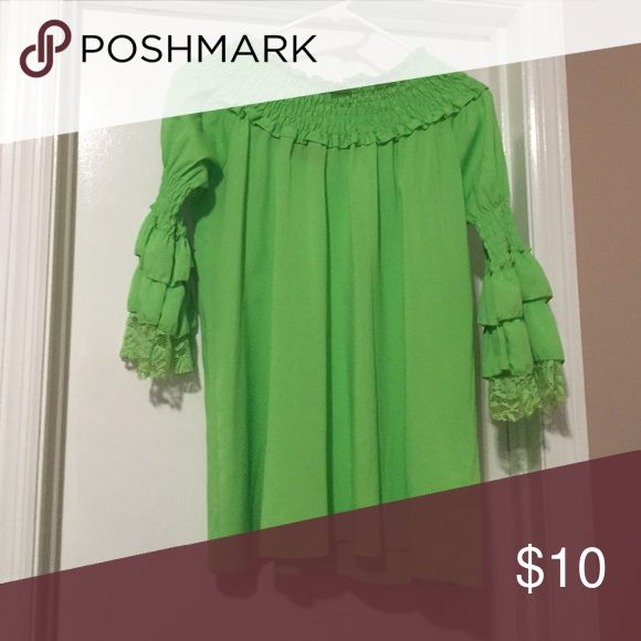 Lime Green Shirt Lime green shirt with 3/4 sleeves with ruffle and lace detail. Can be worn on or off shoulder. Tops Blouses