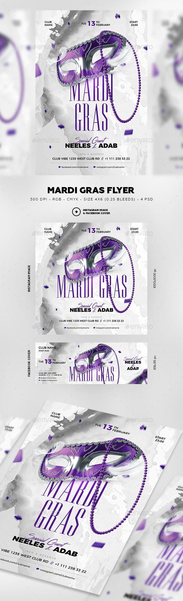 Mardi Gras Carnival Flyer #Costumes #facebook • Download ➝ https://graphicriver.net/item/mardi-gras-carnival-flyer/21318869?ref=pxcr