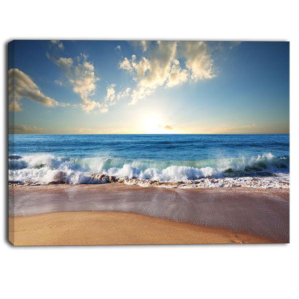 Designart - Sea Sunset - Seascape Photography Canvas Art Print