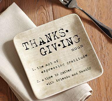 Thanksgiving Sentiment Appetizer Plate, Set of 4 #potterybarn