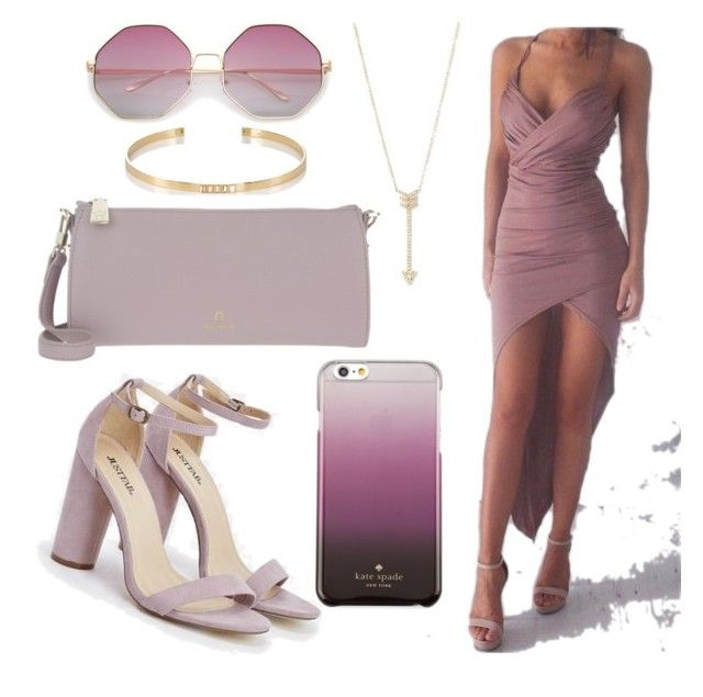 """""""lavendar prom dress"""" by hajarlamine on Polyvore featuring JustFab, Kate Spade, EF Collection, Ileana Makri and Etienne Aigner"""