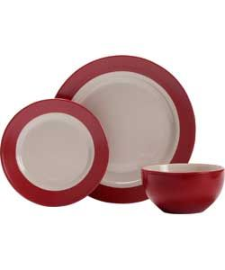 Living 12 Piece Stoneware Max Band Dinner Set - Red.