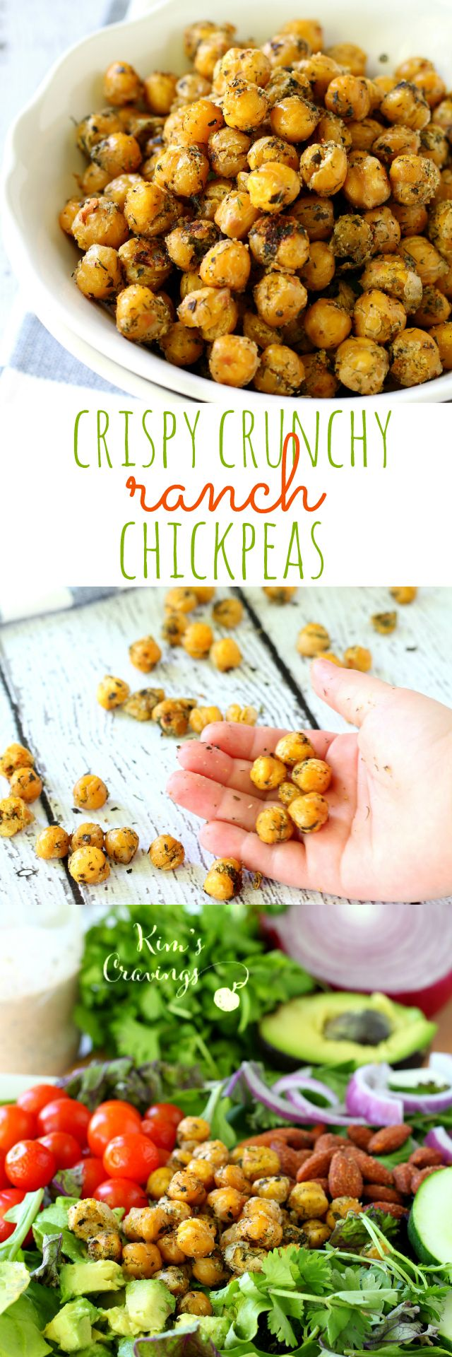 You might as well double the recipe because you can't stop once you start chowing down on these crispy crunchy ranch chickpeas!