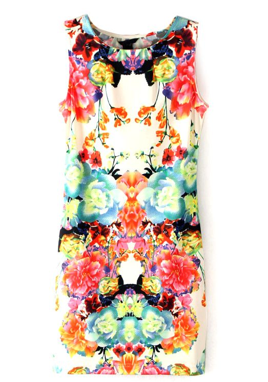 Multi Sleeveless Floral Bodycon Dress