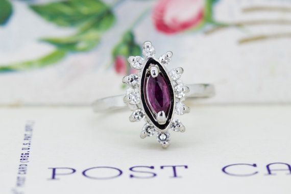 Vintage Amethyst Halo Ring | Diamond Navette Ring | 1960s 14k White Gold Cocktail Ring | February Gemstone Ring | Size 4.75