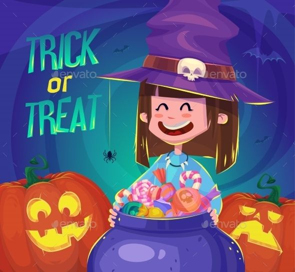 Trick Or Treat. Halloween Poster Background Card