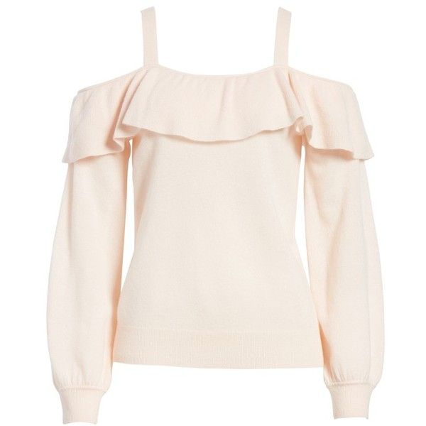 Women's Joie Delbin Shoulder Tie Cashmere Ruffle Sweater (1,060 AED) ❤ liked on Polyvore featuring tops, sweaters, pink sand, ruffle sweater, pink sweater, open shoulder sweater, cold shoulder tops and pink cold shoulder sweater